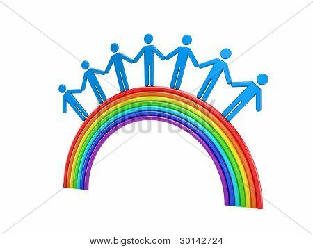 3d small people standing on a rainbow.