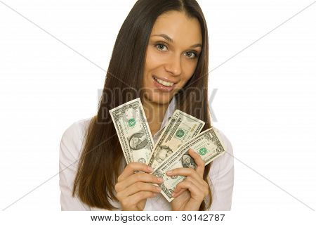 Business woman holding dollars