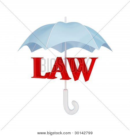 Word LAW under umbrella.