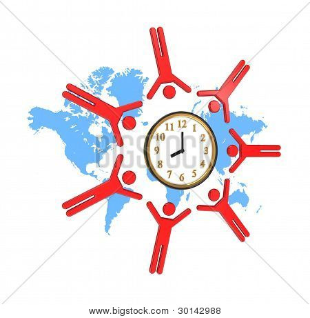 Round dance of 3D small people around watches.