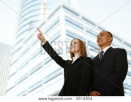 Business Woman Pointing At Something