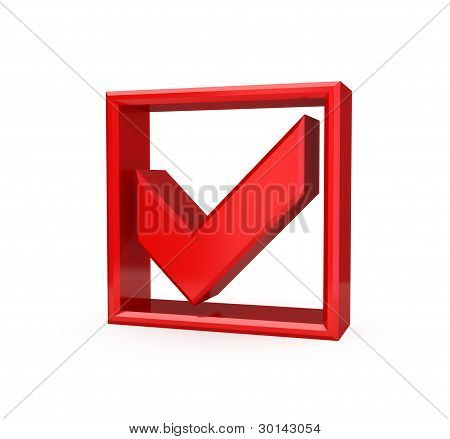 Red checkmark icon.