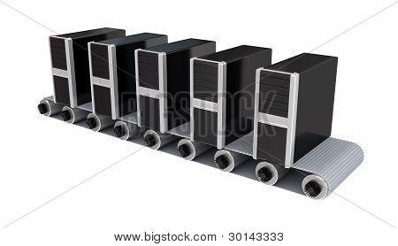 PC towers on conveyor.