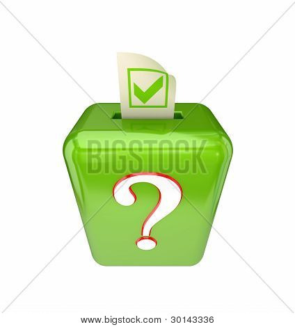 Vote box with query sign.