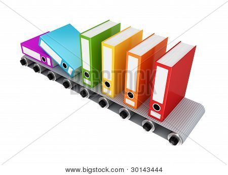 Colorful office folder on conveyor.