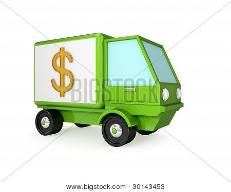 Green truck with a dollar sign on a body.