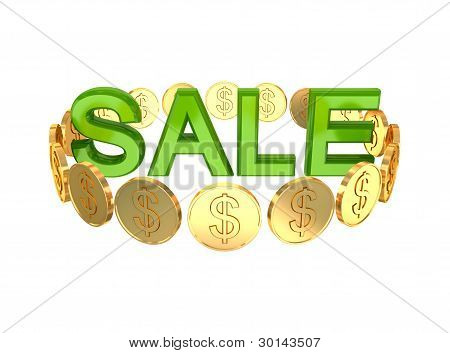 Word SALE and golden coins around.