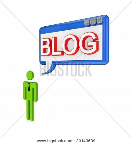 3d small person and PC window with a word BLOG.