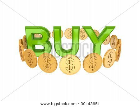 Word BUY and golden coins around.