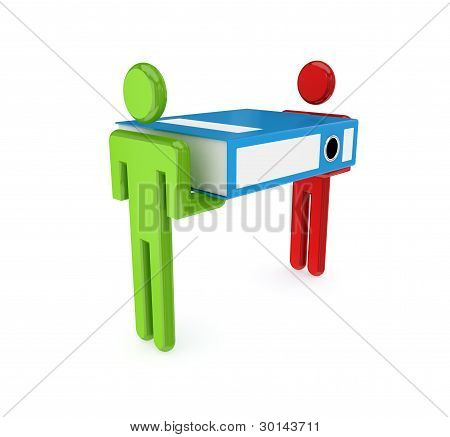 3d small people with large office folder