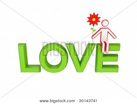 Big word LOVE and 3D small person sitting on it.