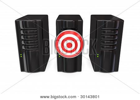 Three black server PC's and target.