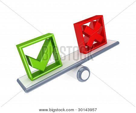 Teilstrich und Kreuz kennzeichnen Symbole auf einer einfachen Waage.