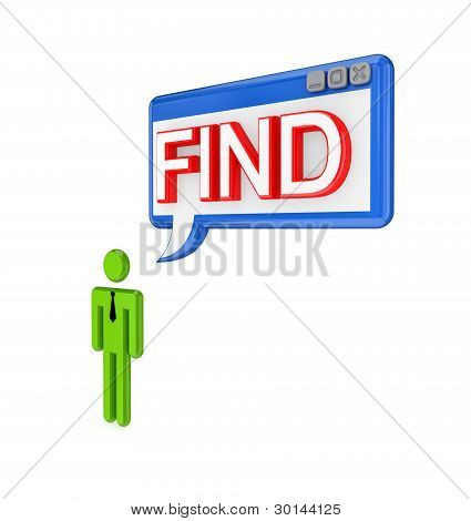 3d small person and PC window with a word FIND.