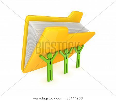 3d small persons and big yellow folder