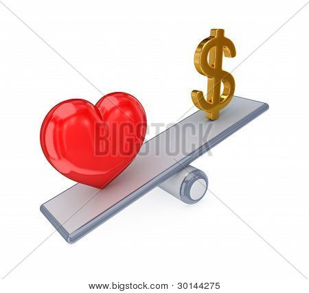 Red heart and dollar sign on simple scales..