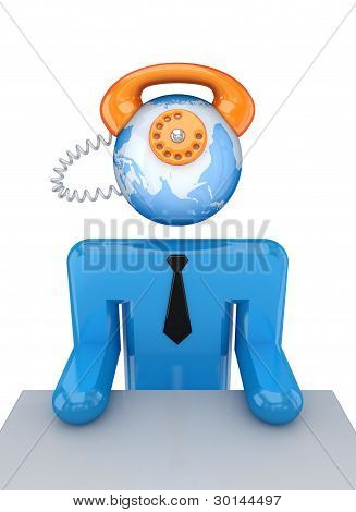 Small person with a telephone instead his head.