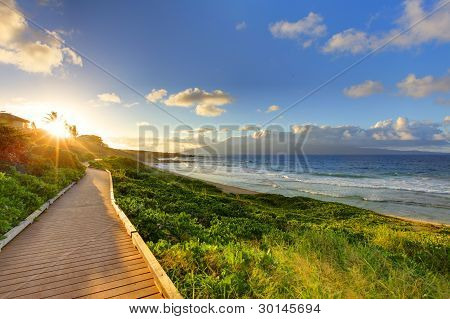 Oneloa Beach Pathway at sunset, Maui Hawaii