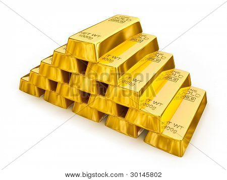 Gold bars pyramid isolated