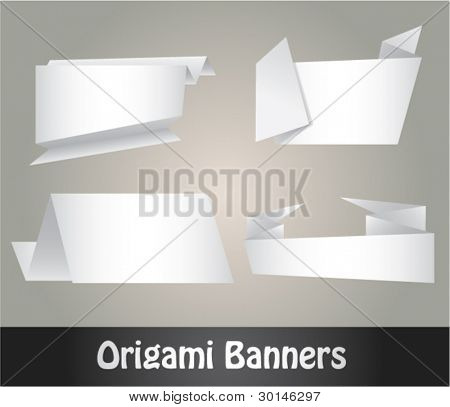white origami banners