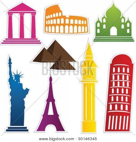 travel label set vector
