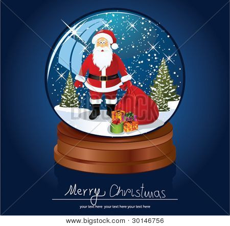 Santa Claus in snow globe