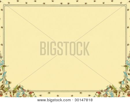 colorful elegant floral decorative framed paper background.