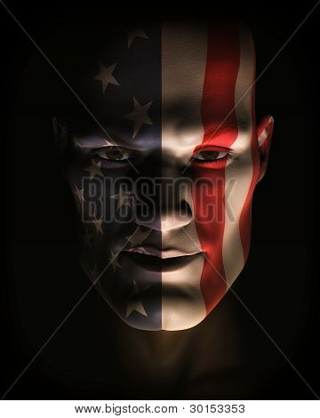 Closeup Illustration Of Man Wearing Usa Flag Face Paint