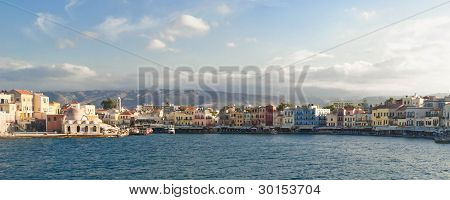 Panoramic View Of Venetian Bay In Chania