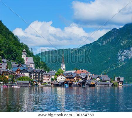 Beautiful summer Alpine Hallstatt Town