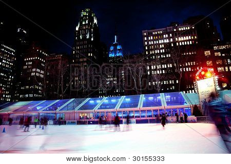 Ice Skating Rink Bryant Park New York City Skyline  Night