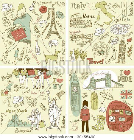 Italien, England, Frankreich und Amerika vier wunderschöne Sammlungen von handgezeichnete doodles