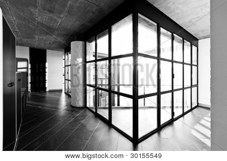 modern empty villa, large window, black an white