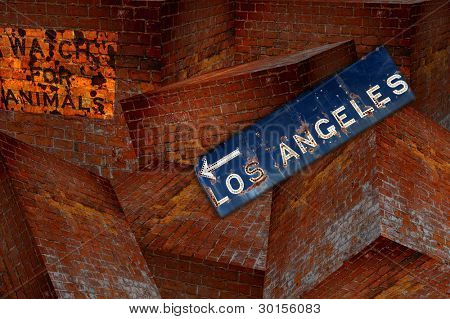 Abstract Los Angeles Sign over an uneven brick background.