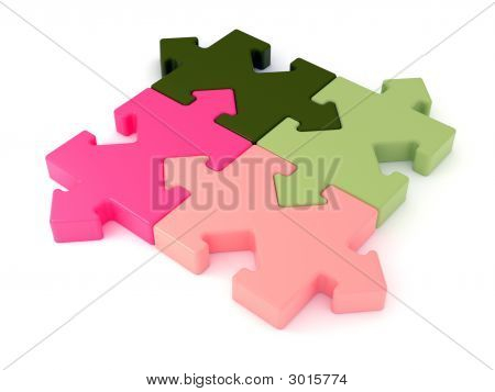 Colored Jigsaw Puzzle. Arrow Joint.3D Rendered Image.