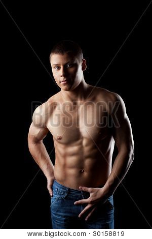 beauty athletic male portrait look at camera