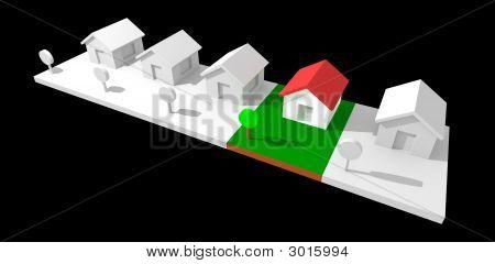 3D Nachbarschaft Häuser isoliert mit Clipping Path