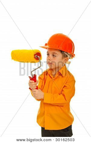 Kid Boy Holding Paint Roller