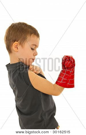 Boy Checking His Muscles