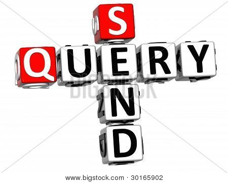 3D Send Query Crossword On White Background