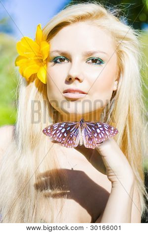 Beautiful Natural Blonde With Butterfly