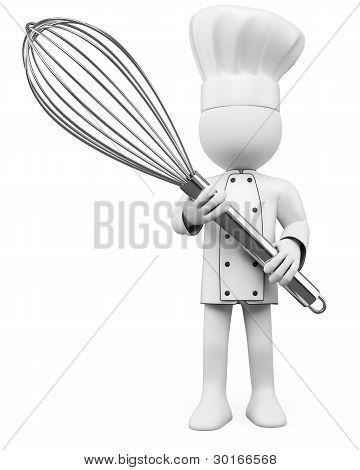 3D Cook Posing With A Mixer