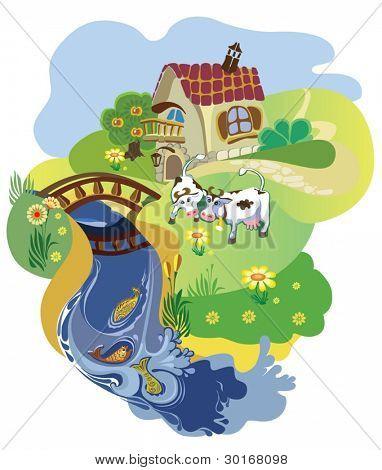 Bauer sucht Gäste mit Kühen auf der Wiese am Teich