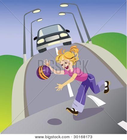 Ilustración del vector que representa a la niña con una bola se agoten en carretera. Para la formación de los niños a b