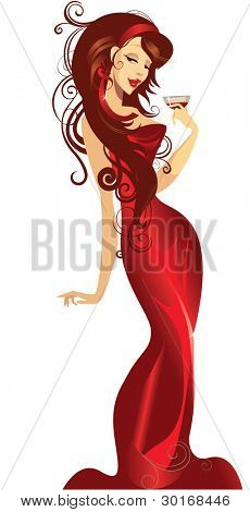 lady in a red dress with a wine glass in hand