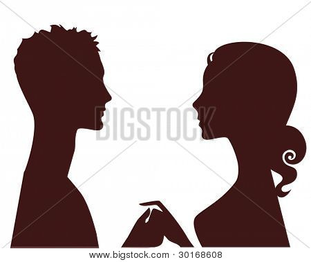 silhouette of man and woman in profile