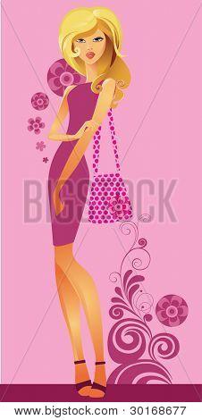 girl on decorative background