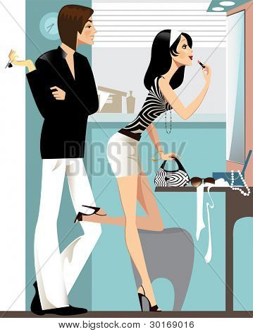 man and woman in the mirror