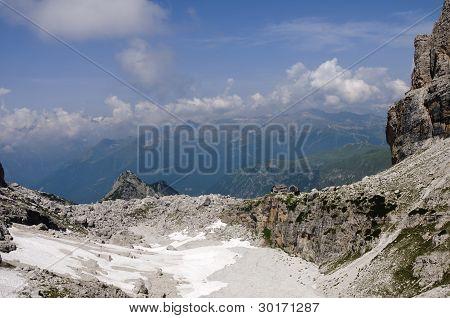 Rocky Landscape In The Italian Dolomites