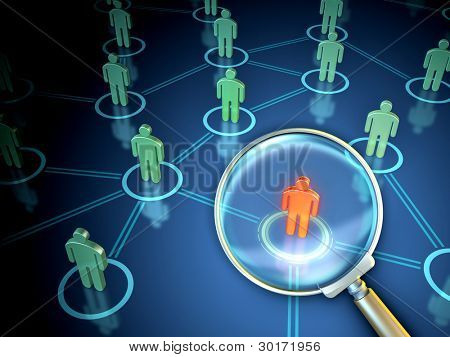 A big magnifying lens is searching over a network of people icons. Digital illustration.